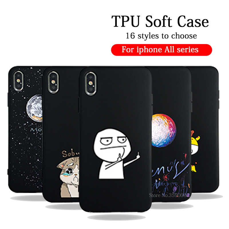 Silicone Cover Case Voor iPhone X 8 7 6 6 s plus carcasa Lover Plant Cartoon Telefoon Gevallen Terug Shell op Voor iPhone XS Max XR coque