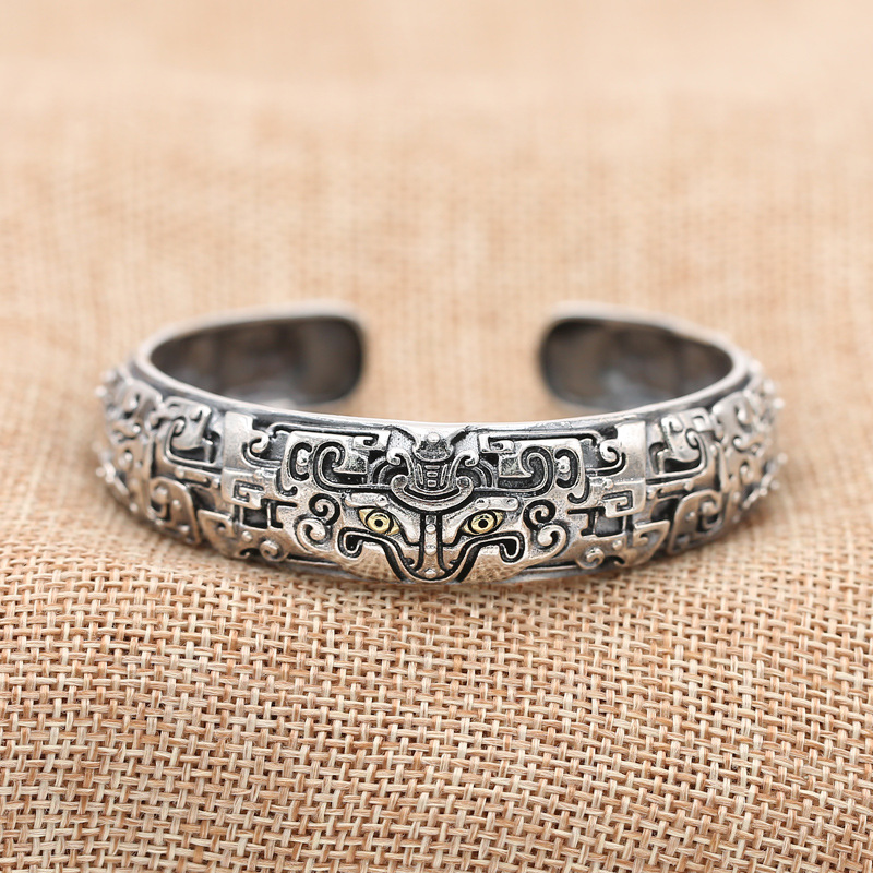 S925 Sterling Silver Jewelry Retro Thai Silver Personality Ethnic Style Ancient Animal Gluttonous Domineering Men's Bangle