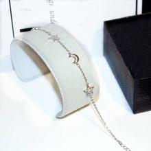 TYME 2018 luxury Moon star silver color bracelets for women nice gifts cubic zirconia bracelet wedding jewelry pulseira feminina