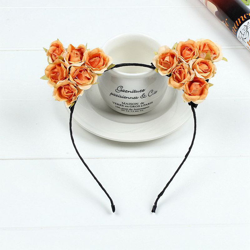 CAUSE JOYACE Fashion Small Devil Cat Fabric Flowers