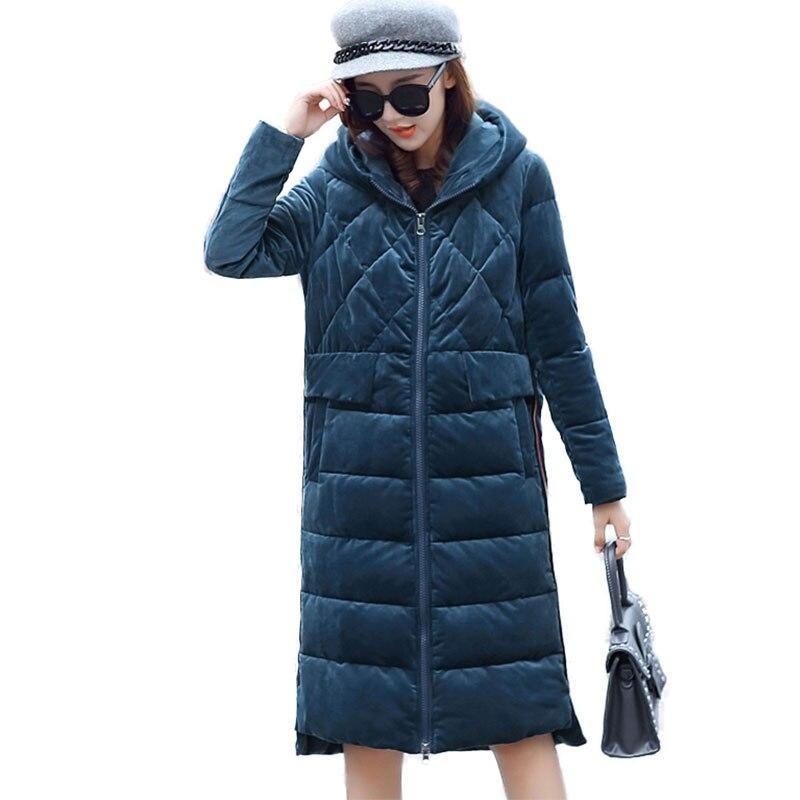 2019 New Fashionable Velour Outerwear Winter Jacket Women Cotton-Padded Warm Down Parka Big Yard Hooded Female Winter Coat LJ586 Одежда