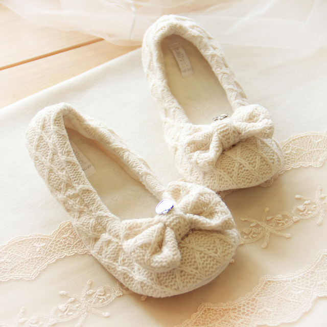 Cotton Cute Bowtie Home Slippers Women Indoor Shoes For Bedroom Adult Guest  House Slippers Warm Winter