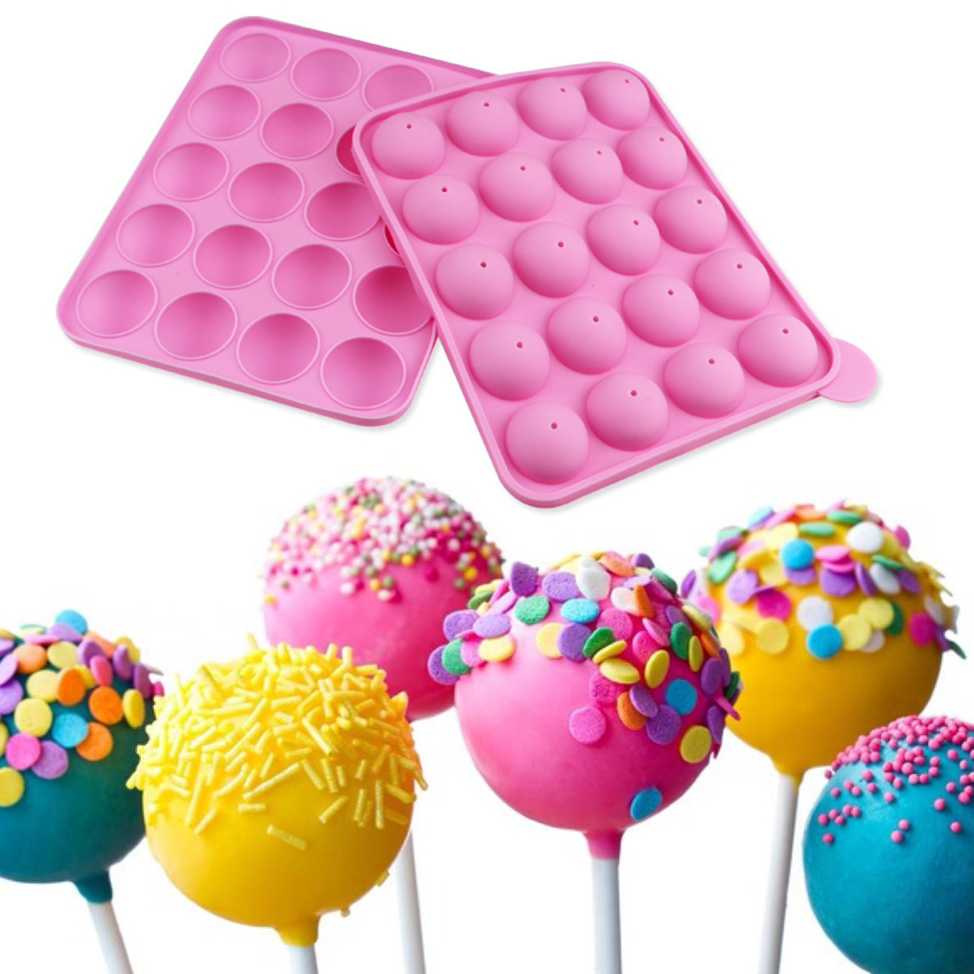 1pc 20 Holes Silicone Cake Pop Mold Cupcake Lollipop Mold