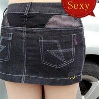 Sexy Women See Through Pencil MINI Jean Skirt Transparent Low Rise Waist Denim Skirt Vintage Cute