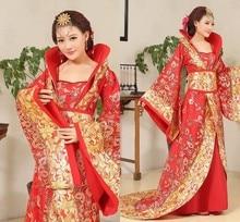 Luxe Tang dynastie Kostuum Slepen Staart Concubine Fairy Womens Kostuum Stadium Bruid Chinese Bruiloft Studio Thema Dans Jurk