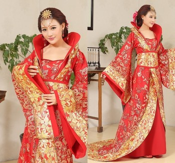 Luxury Tang Dynasty Costume drag tail concubine fairy womens costume stage bride Chinese wedding studio theme dance dress фото