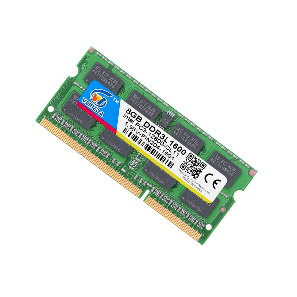 Оперативная память VEINEDA SO DIMM ddr3l 4 ГБ 8 ГБ 1,35 в DDR3L 1333 1600 МГц DDR3 4 ГБ для ноутбука