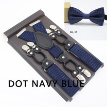 Men's Suspenders 6 Clip Dots Pattern Bowtie Sets Personalized Groomsmen Man For Pants Mens Trouser Spot Strap Fashion