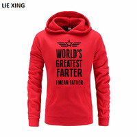 2018 New Men Casual Lovers Slim Hoodie Sweatshirt WORLD'S GREATEST FARTER I MEAN FATHER Hoodies Sweatshirts Fashion Hoody