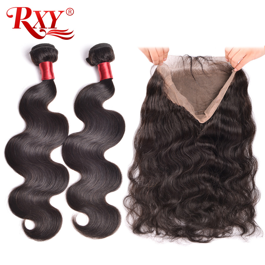 Pre Plucked 360 Lace Frontal with Bundle Body Wave Brazilian Human Hair Weave 2 Bundles with Closure Lace Frontal RXY Remy Hair-in 3/4 Bundles with Closure from Hair Extensions & Wigs    1