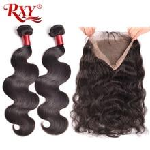 Предварително оскубани 360 дантела фронтална с пакет телесна вълна бразилски човешки коси тъкат 2 връзки с затваряне дантела фронтална RXY Remy коса
