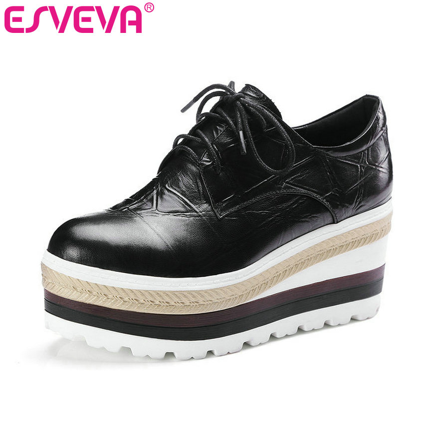 ESVEVA 2017 Wedge High Heel Round Toe Platform Women Shoes Lace Up Real Leather Casual Women Pumps Spring Autumn Shoe Size 34-39 лонгслив overmoon by acoola overmoon by acoola ov003egsjs36