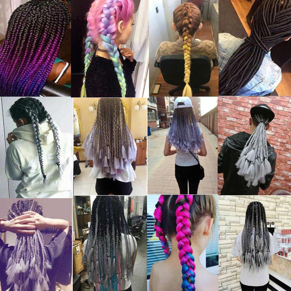каникалоны Афро Омбре предварительно растягивается плетение волос для наращивания цветные Canecalon Wick Expression Box косы синтетические широкие крючком волосы канекалоны для волос