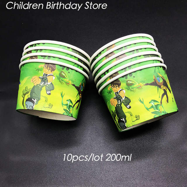 10pcs Lot Bne 10 Theme Disposable Cups Ice Cream Ben Birthday Party Decorations