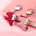 MILESI Sweet Love Series Car Keychain Monkey Riding Horse Genuine Leather Keyring Creative Women Decorative Pendant k0205