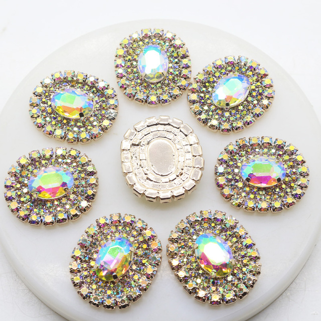 c63fb1afc6 US $3.99 20% OFF|ZMASEY NEW 5Pcs/Lot 25*30mm Oval Metal Buttons Gold Diy  Sewing Button Accessory Ribbon Handwork Decorative -in Buttons from Home &  ...