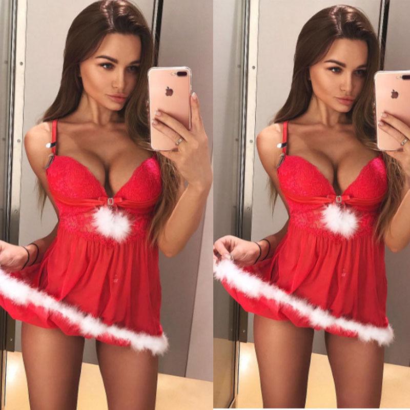 Sexy  Christmas V-neck Sleepwear Underwear Women Babydoll Dress Xmas Solid Red