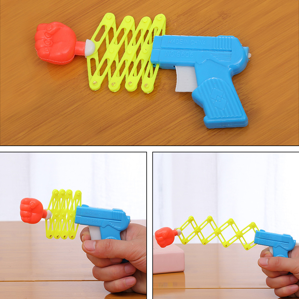Prank Elastic Spring Fist Magic Weapon Funny Children Kids Toys