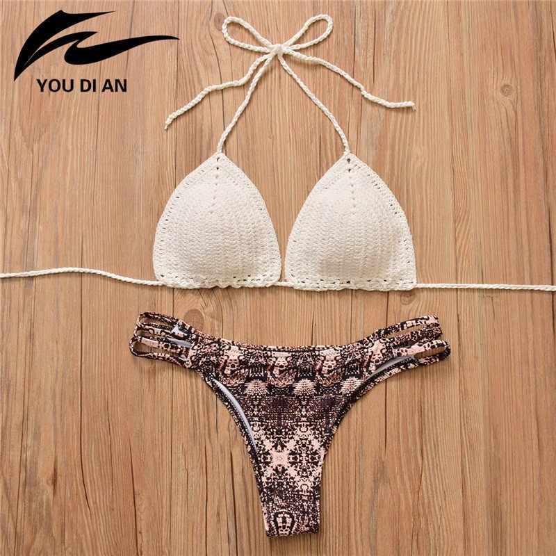 a284751f18d4d Сексуальное вязаное Бикини Топ или низ купальник женский на завязках вязаный  купальник Бразильский бикини купальный костюм