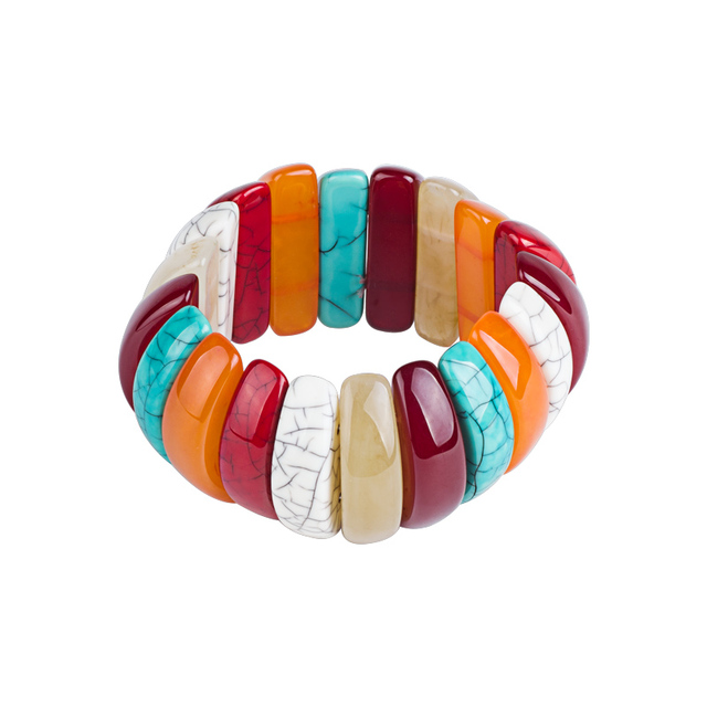 Guanlong Whole Colorful Chunky Statement Resin Charm Stretch Bracelet Puseira Dropshipping 2018