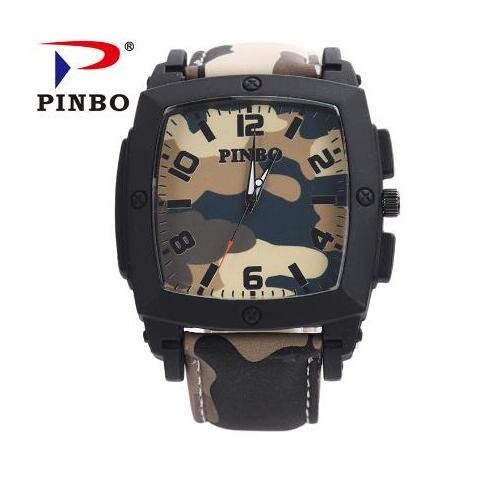 2019 New PINBO Brand Men Army Casual Quartz Watch Men Camouflage Leather Strap Military Watches Relogio Feminino Clock Hot Sale