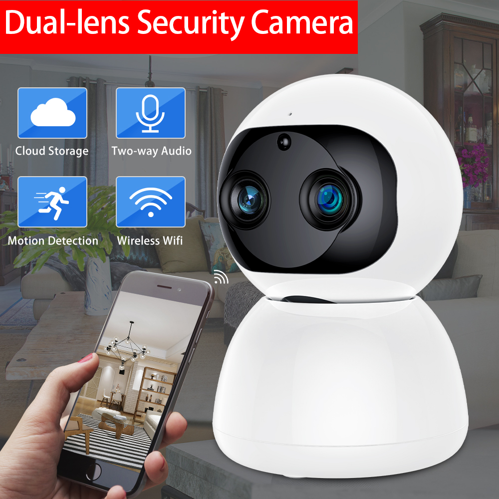 SDETER 1080P 2MP Dual-Lens Wireless IP Camera Wifi Security CCTV Camera P2P Night Vision Two Way Audio Baby Monitor Indoor Cloud