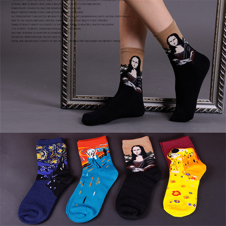 1 Pair/lot Unisex Women Men Lovers Jacquard Oil Painting Cotton Socks Fashion Literature Mona Lisa Meias Calcetines Mujer ...