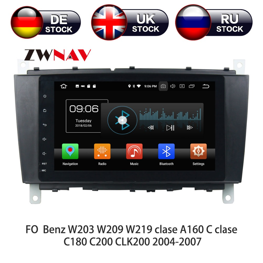 Android 8 Car DVD Player GPS navigation For Mercedes Benz C-Class W203 CLC G Class headunit multimedia player tape