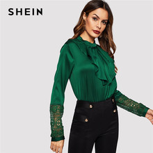 d1ab8761b64 SHEIN Vintage Green Flounce Neck Keyhole Back Stand Collar Hollow out Lace  Cuff Satin Blouse Women Autumn Plain Tops and Blouses
