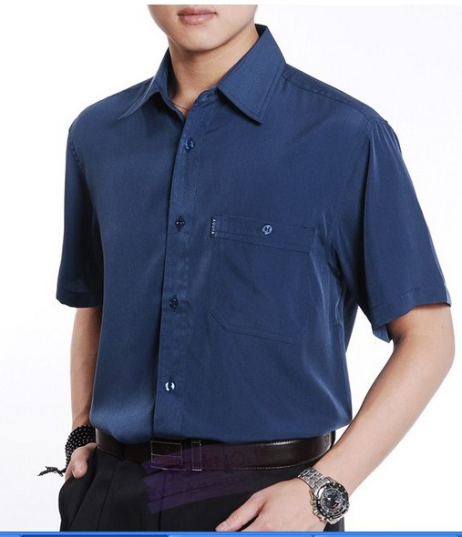 2015 Summer Casual Shirt Short-sleeve Shirt Quinquagenarian Thin Silk Shirt Men Slim Fit Shirts M, L, XL, XXL, XXXL , XXXXL 15