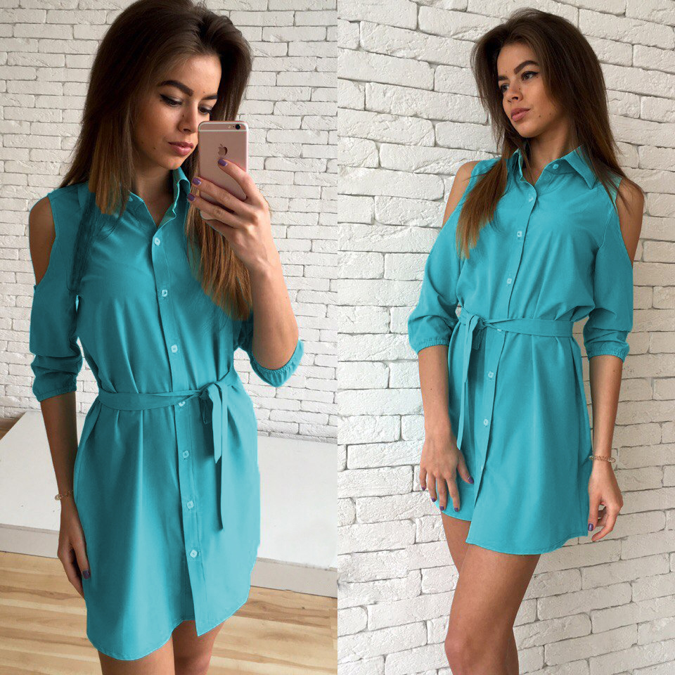 e8e80c4a2ac2 Three Quarter Sleeve Cold Shoulder Shirt Dress 2018 Sexy Women Office  Dresses Turn Down Collar Prom Sashes Casual LX227-in Dresses from Women s  Clothing on ...
