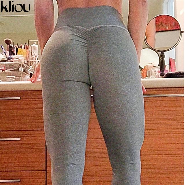 Kliou 2018 Sexy Push Up Black Leggings Women Fashion High Waist Workout Polyester fitness Leggings Activewear Slim Legging