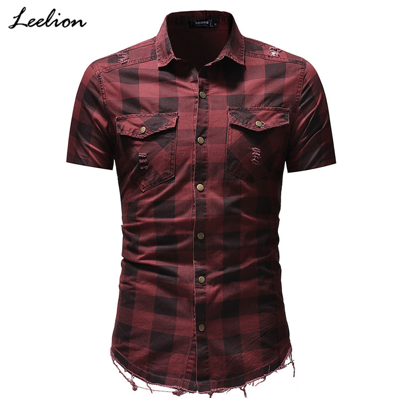 IceLion 2019 New Fashion Casual Plaid Classical Shirt Men Hairy Hem Demin Shirts Man Short Sleeves Men's Shirts Camisa Masculina