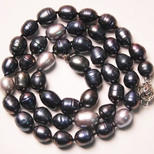 Fashion natural Akoya multicolor pearl necklace 9-10mm barrel rice beads high grade women wholsesale price jewelry 18inch MY4784