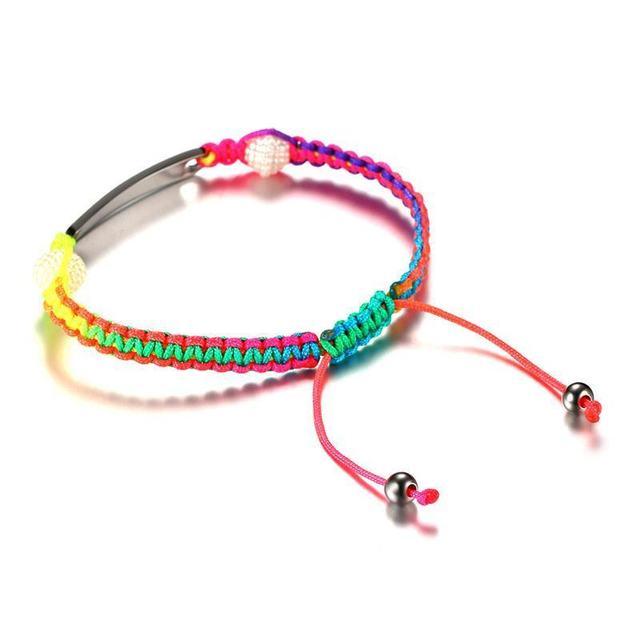 Engraved Medical Alert ID Rope Bracelet Rainbow Bangle Stainless Steel Childrens Womens Mens 2