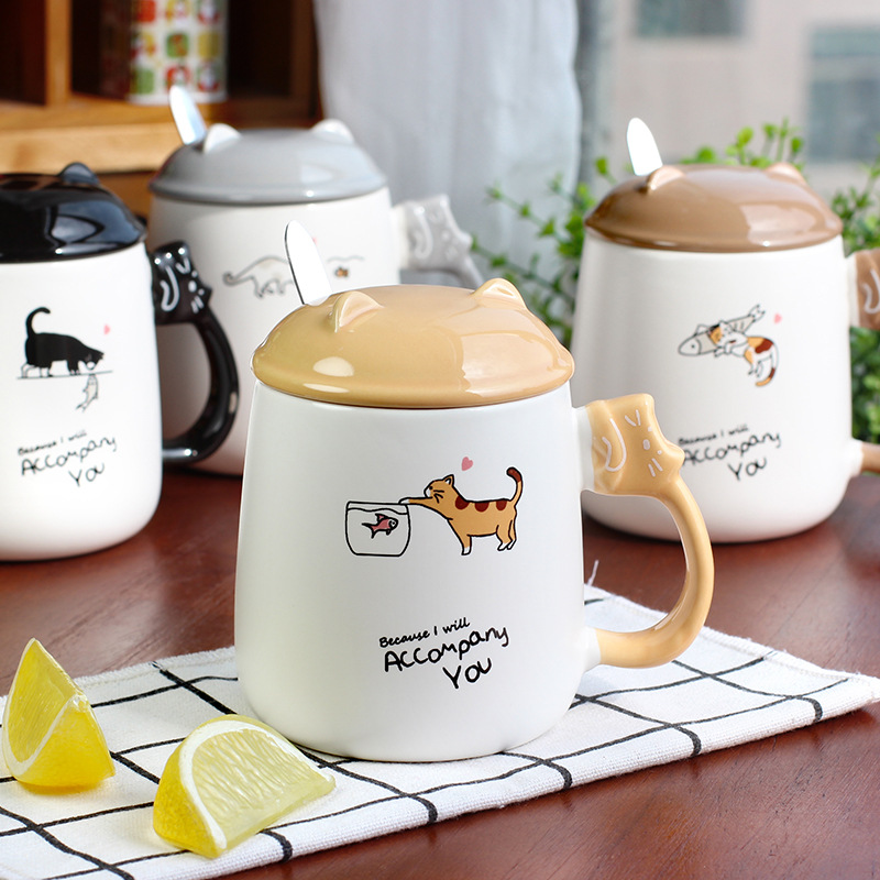 New cat and fish ceramic cup creative cartoon milk coffee mug cup business gift office cup travel home