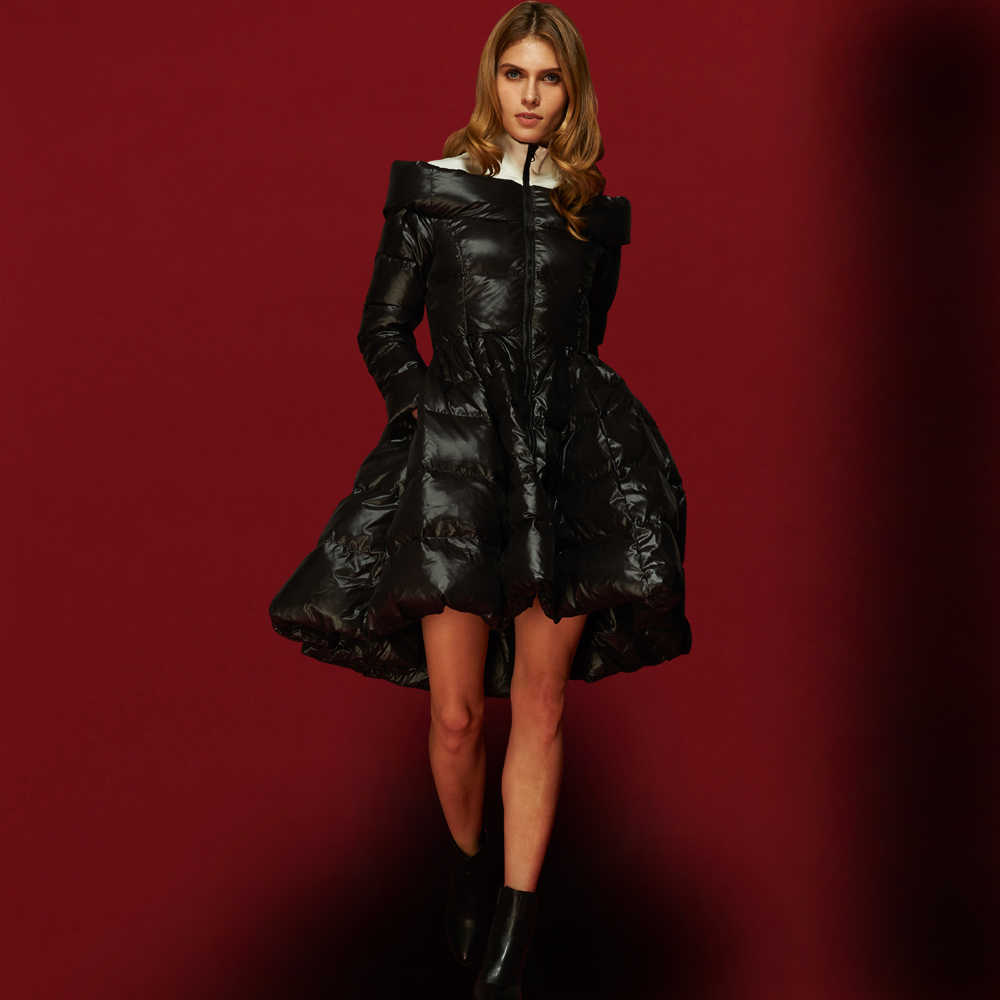 Высокое качество, британский стиль 2019, парки для женщин, зимние парки с супер утиным пухом, модная дизайнерская юбка, пуховое пальто, черные куртки