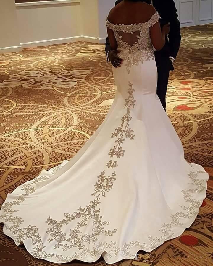 V Neck Mermaid Wedding Dresses Backless Off The Shoulder