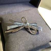 Big Bowknot Brooch Gold Color Crystal Pins and Brooches Rhinestone Large Bow Brooch for Women