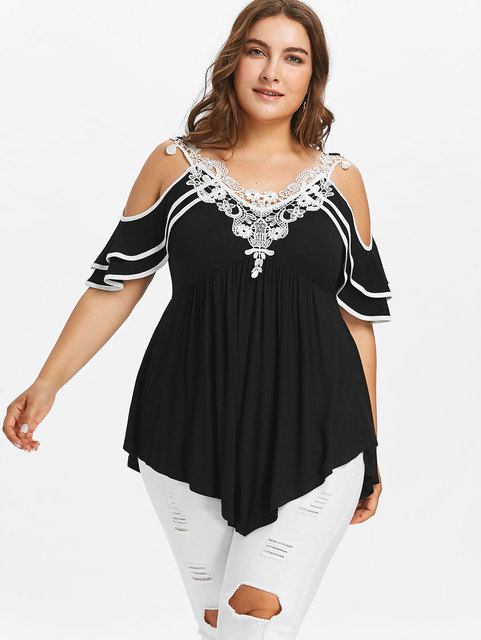 f8b655f7cb267 Gamiss 5XL Plus Size Layered Cold Shoulder Women T-Shirt Half Butterfly  Short Sleeve Summer Lace Solid V-Neck Casual T-Shirt