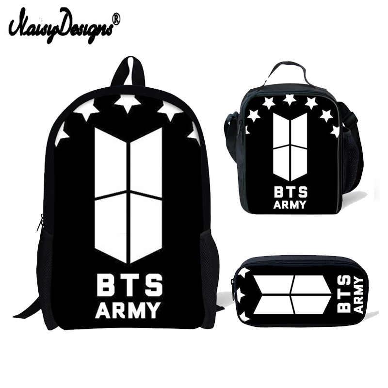 6ba37ff89eaf 3 PCS SET Children Bookbag BTS Letter Print Backpacks Girls School Bag Boys  Mochila Boys