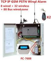 Фокус FC 7688 Проводная сигнализация 8 проводных зон 32 беспроводных зон 88 автобусная зона стационарная GSM Интернет TCP IP Проводная система безоп
