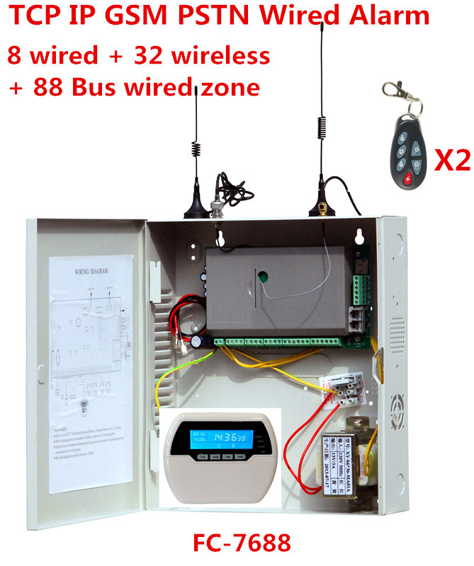 Focus FC-7688 Wired Alarm System 8 wired zones 32 wireless zones 88 Bus zone Landline GSM internet TCP IP wired security system настенный светильник eglo planet 3 83198