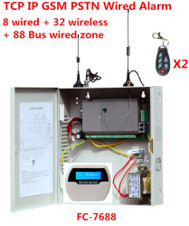 Focus FC-7688 Wired Alarm System 8 wired zones 32 wireless zones 88 Bus zone Landline GSM internet TCP IP wired security system
