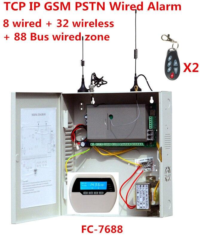 Messa a fuoco FC-7688 Wired Sistema di Allarme 8 zone cablate 32 zone senza fili 88 Bus zona di Rete Fissa GSM internet TCP IP wired sistema di sicurezza