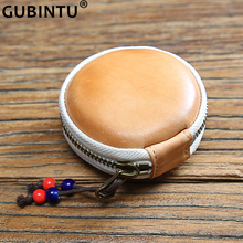 Top Quality Mini Bag Genuine Leather Coin Pocket Zipper Wallet Money Cute Coin Small Round Storage Bag Personalized Change Purse