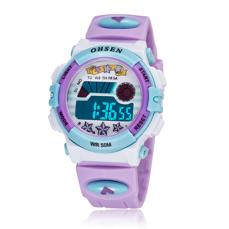 Purple Children Sports Watches LED Digital Quartz Watch Outdoor Waterproof Wristwatches Relogio femininity 1603 6