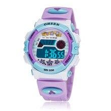 Púrpura Niños Deportes Relojes LED Digital de Cuarzo Reloj de Pulsera Relogio Impermeable Al Aire Libre feminidad 1603-6