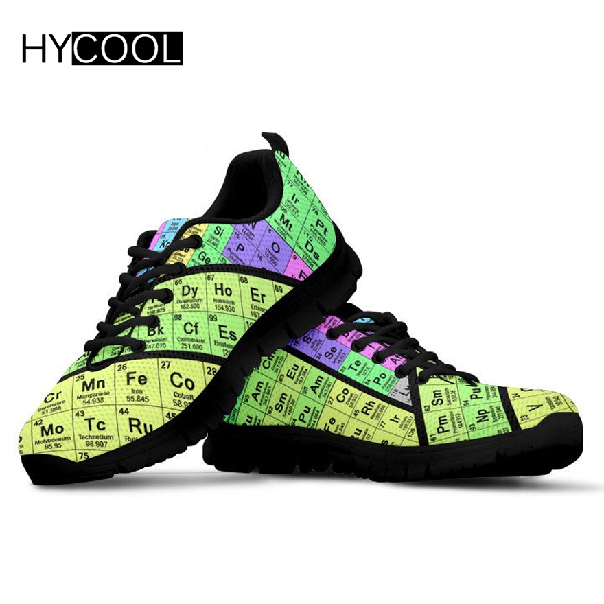 HYCOOL Men Sport Shoes Periodic Table Pattern Running Sneakers Male Lightweight Breathable Women Sport Trainers Sneaker Female