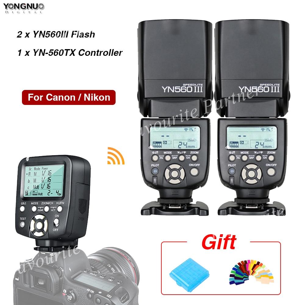 2Pcs Yongnuo YN560III Flash Speedlite YN560TX II Flash Controller Wireless triggering Hot shoe flash For Canon